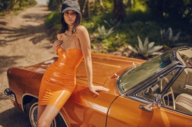 KCSU17152SL-Orange-LatexDress-Kendall-1